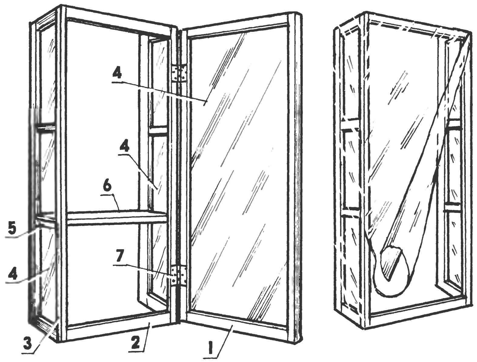 Оконный шкаф в варианте «оранжерея» и вариант оранжереи без дверцы — с пленочными стенками и откидным пологом