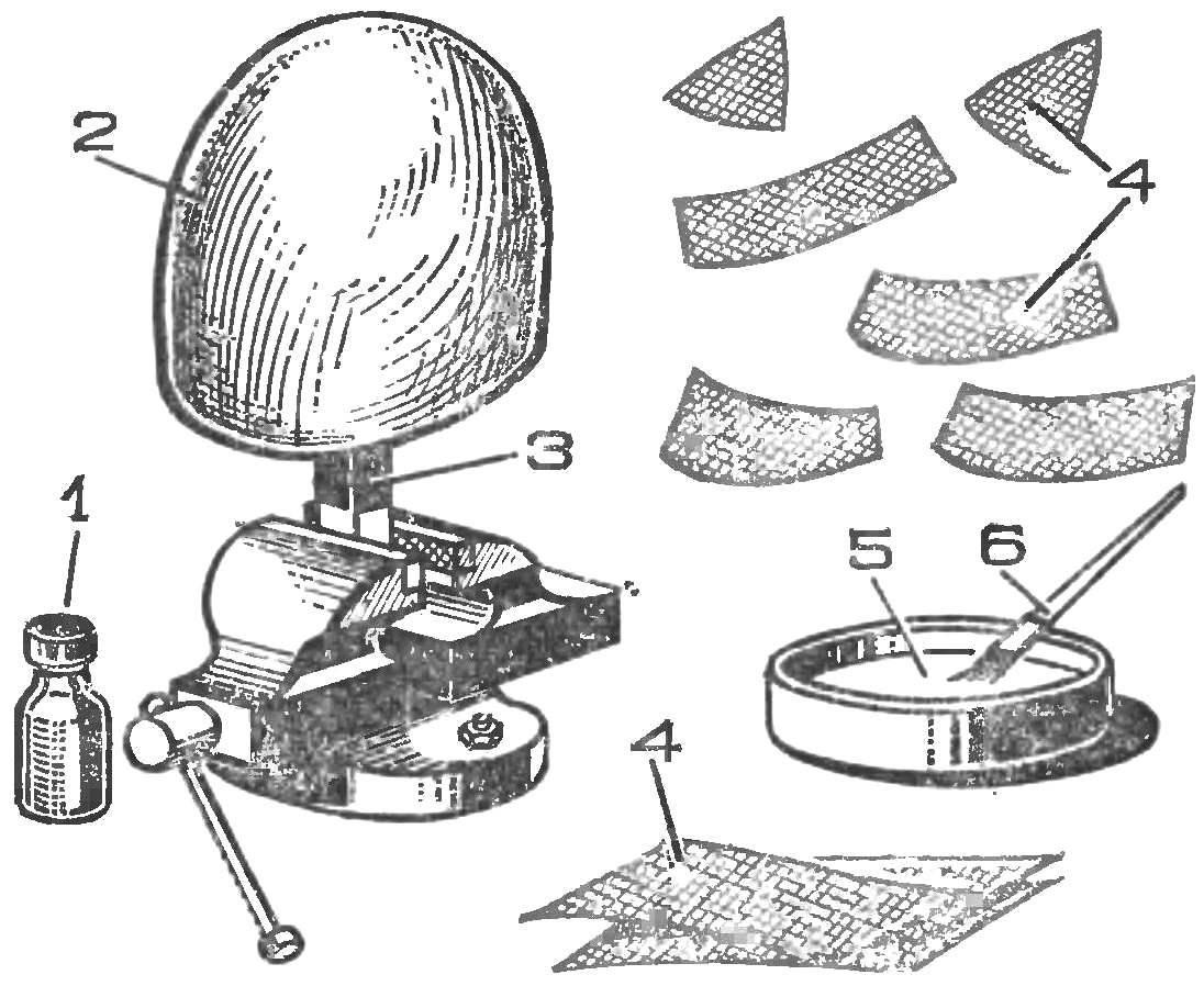 Рис. 5. Выклейка шлема на болване
