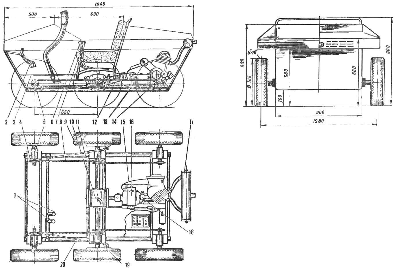 Рис. 3. Схема вездехода