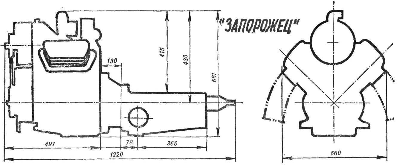 Fig. 1. Dimensions and fixing points power units for micro cars.