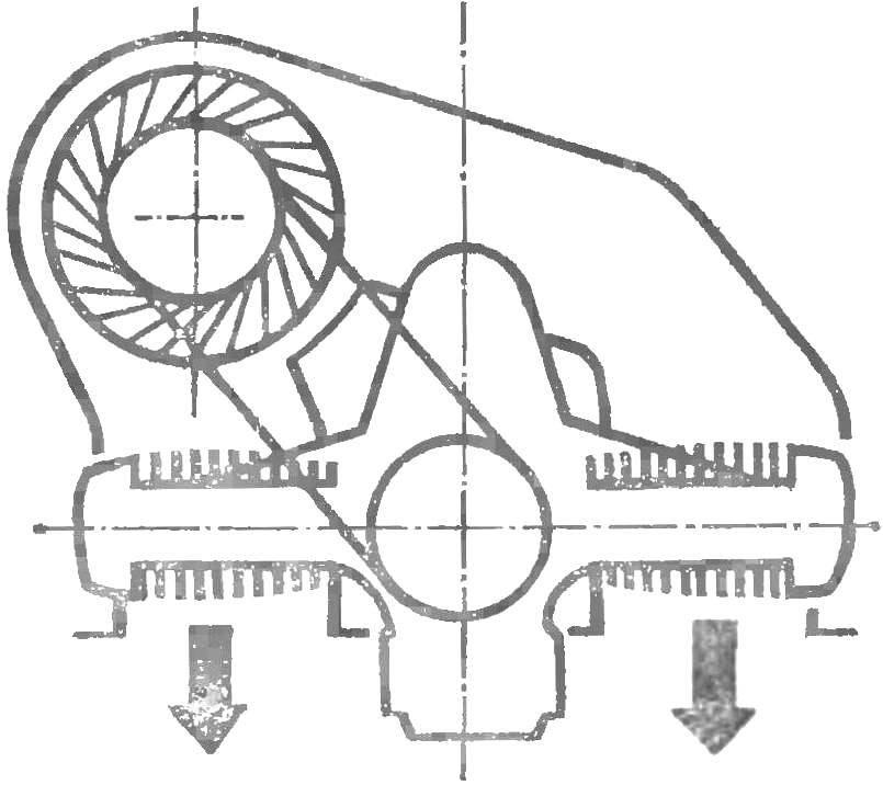 Рис. 4. Кожух воздуходувки для оппозитного мотоциклетного двигателя.