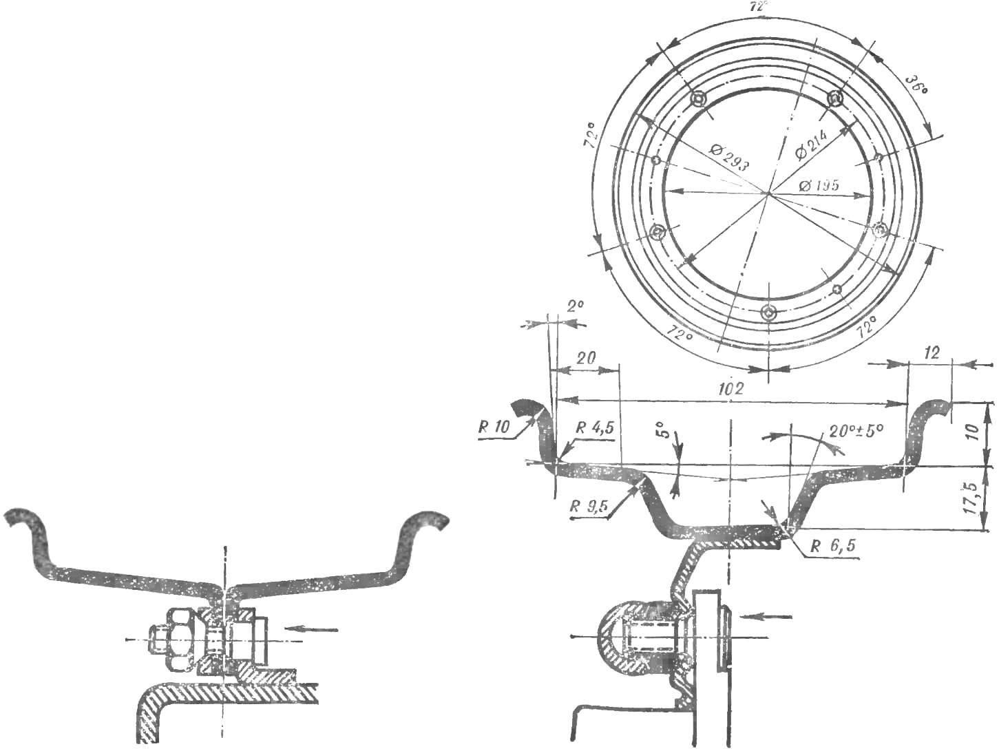 Рис. 5. Размеры обода колеса для шин 5.00-10 и варианты его крепления.