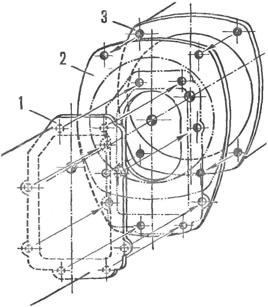 Fig. 6. Install the intermediate sheet between the engine and transmission