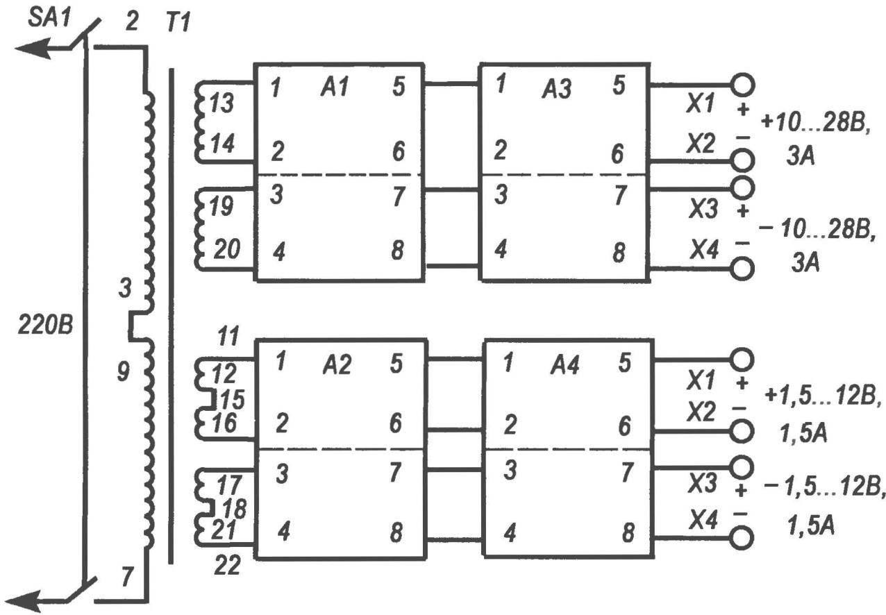 Блок-схема модульного источника питания