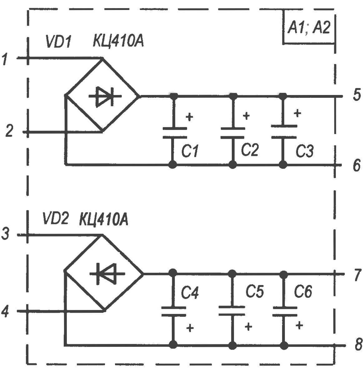 Diagram of bridge rectifier modules A1 and A2. The difference in the performance of the modules