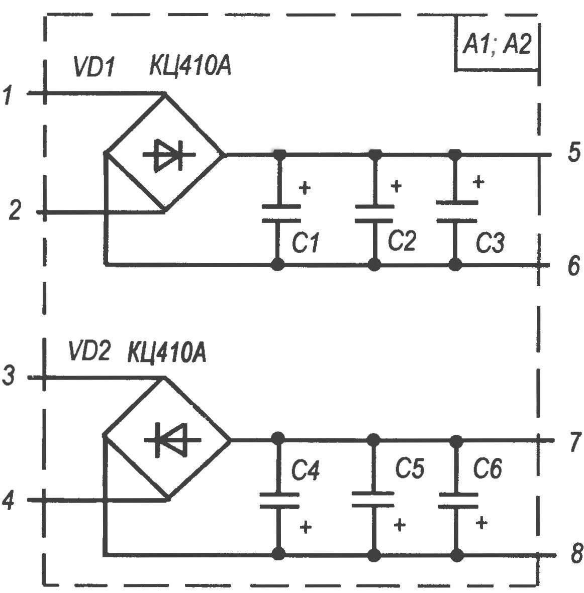 Схема мостовых выпрямителей модулей А1 и А2. Разница в исполнении модулей