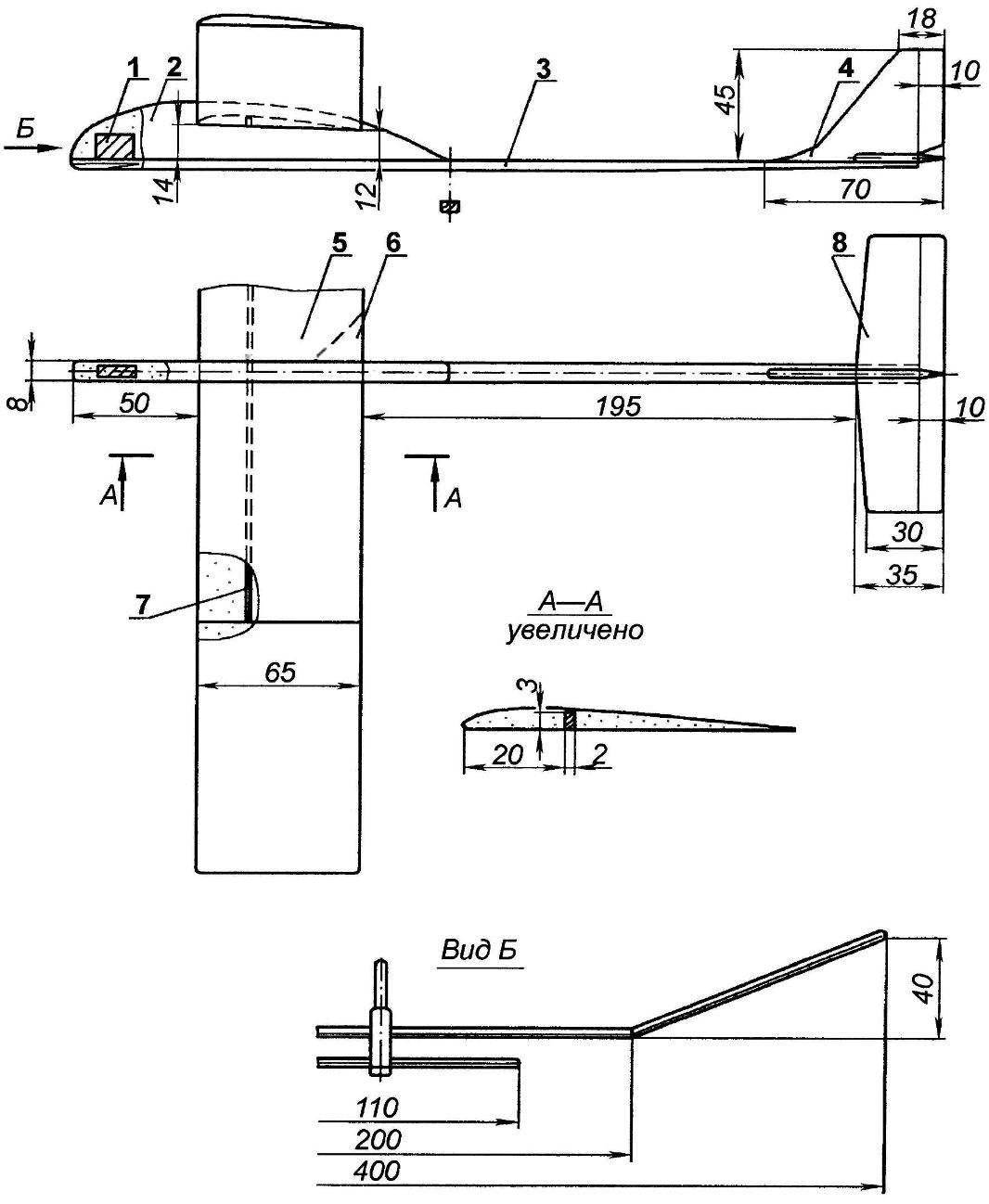Fig. 3. Model throwing glider