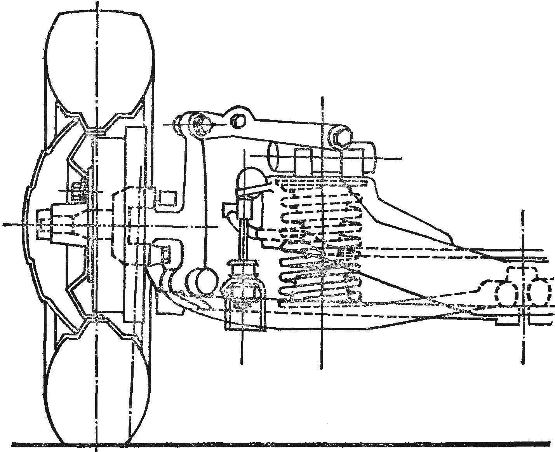 Вид спереди на переднюю подвеску и правое колесо с частичными схематическими разрезами.
