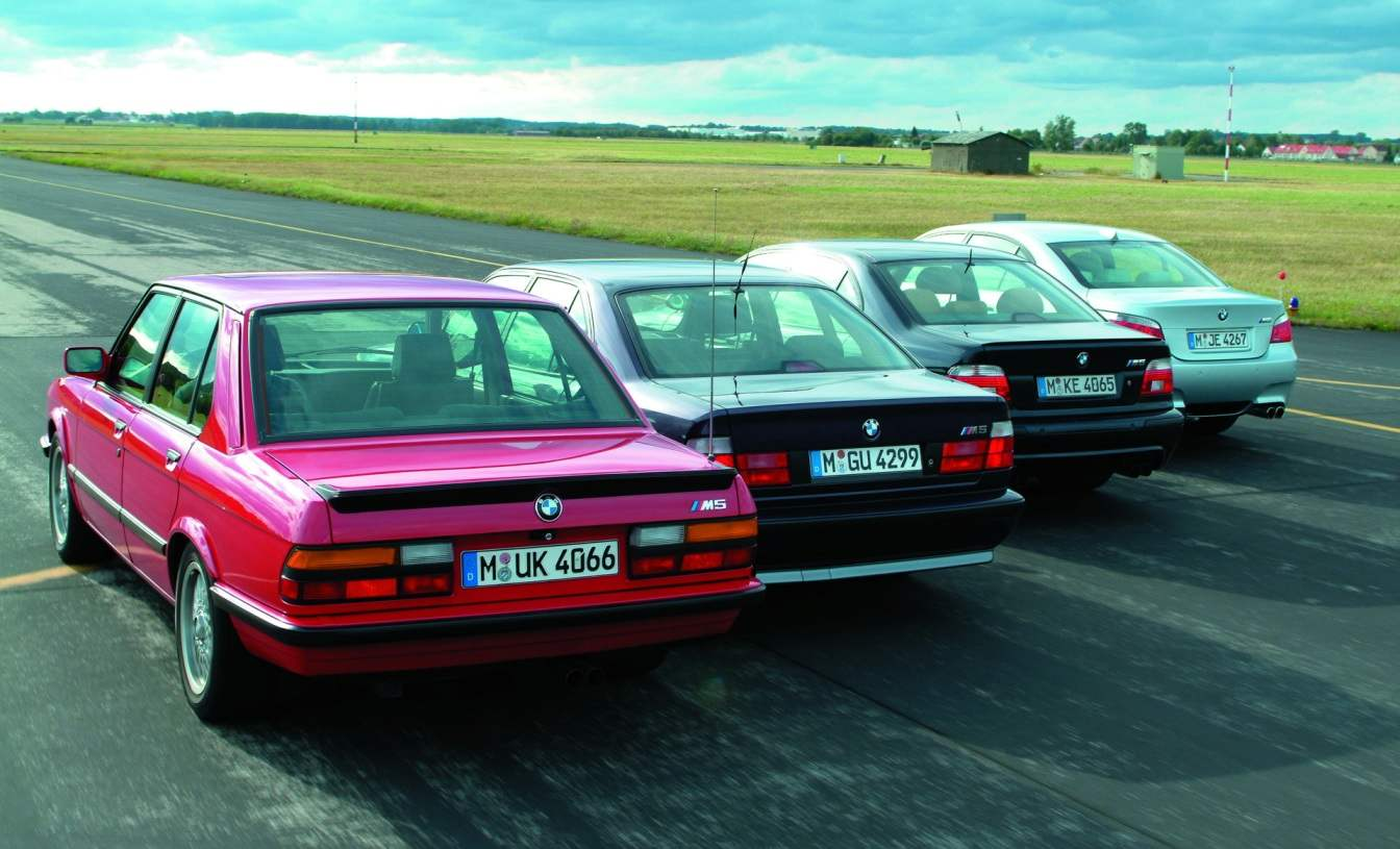 Four generations of BMW M5 supersedanov