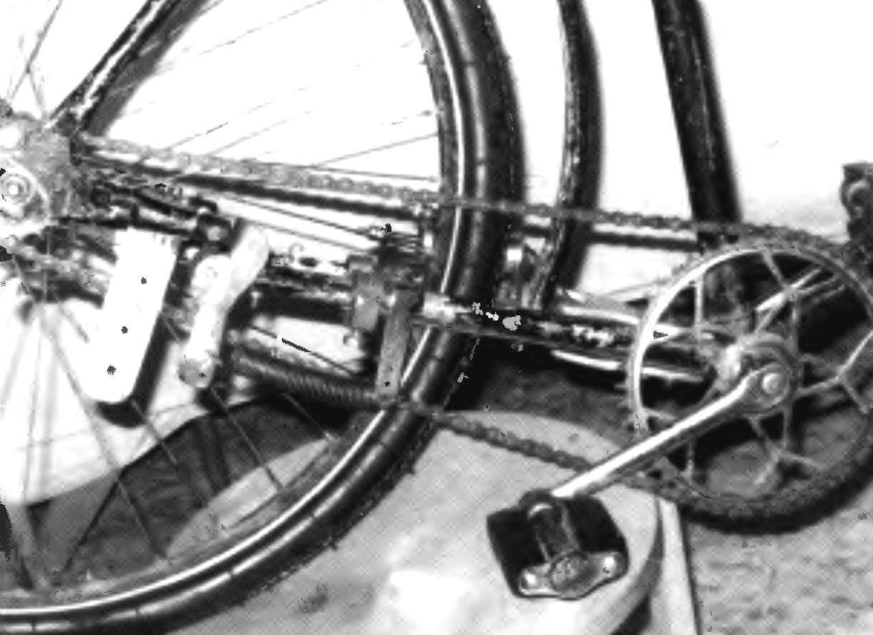 Вид двухшарнирного механизма с правой стороны. Здесь смонтированы направитель цепи, двуплечий рычаг с пружиной и консолью.