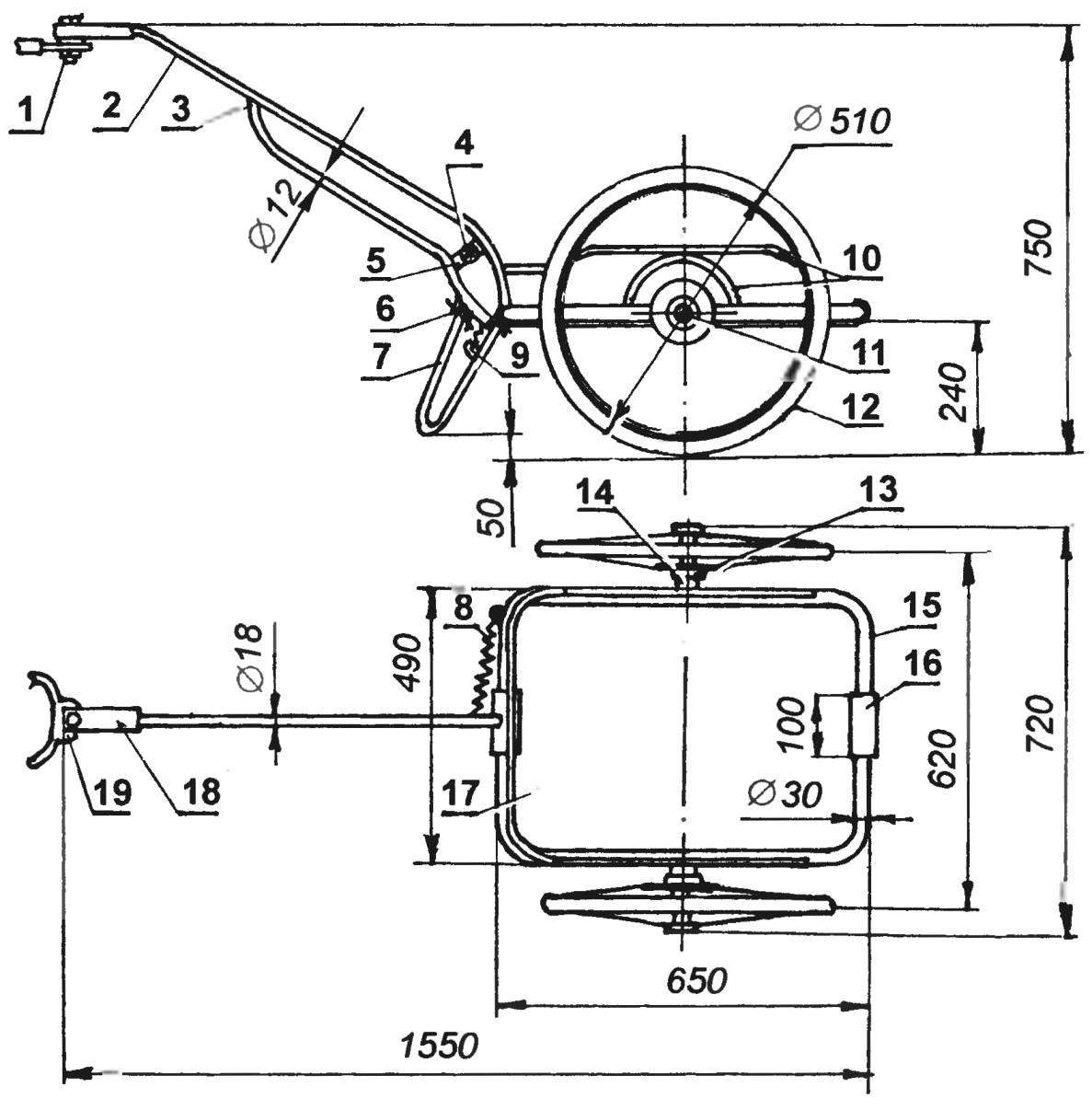 The layout of the car-trailer
