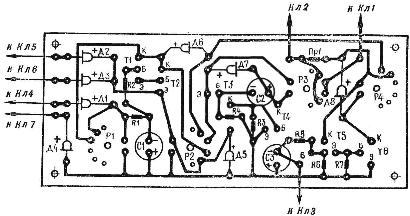 Рис. 2. Печатная плата сигнализатора с расположением деталей.