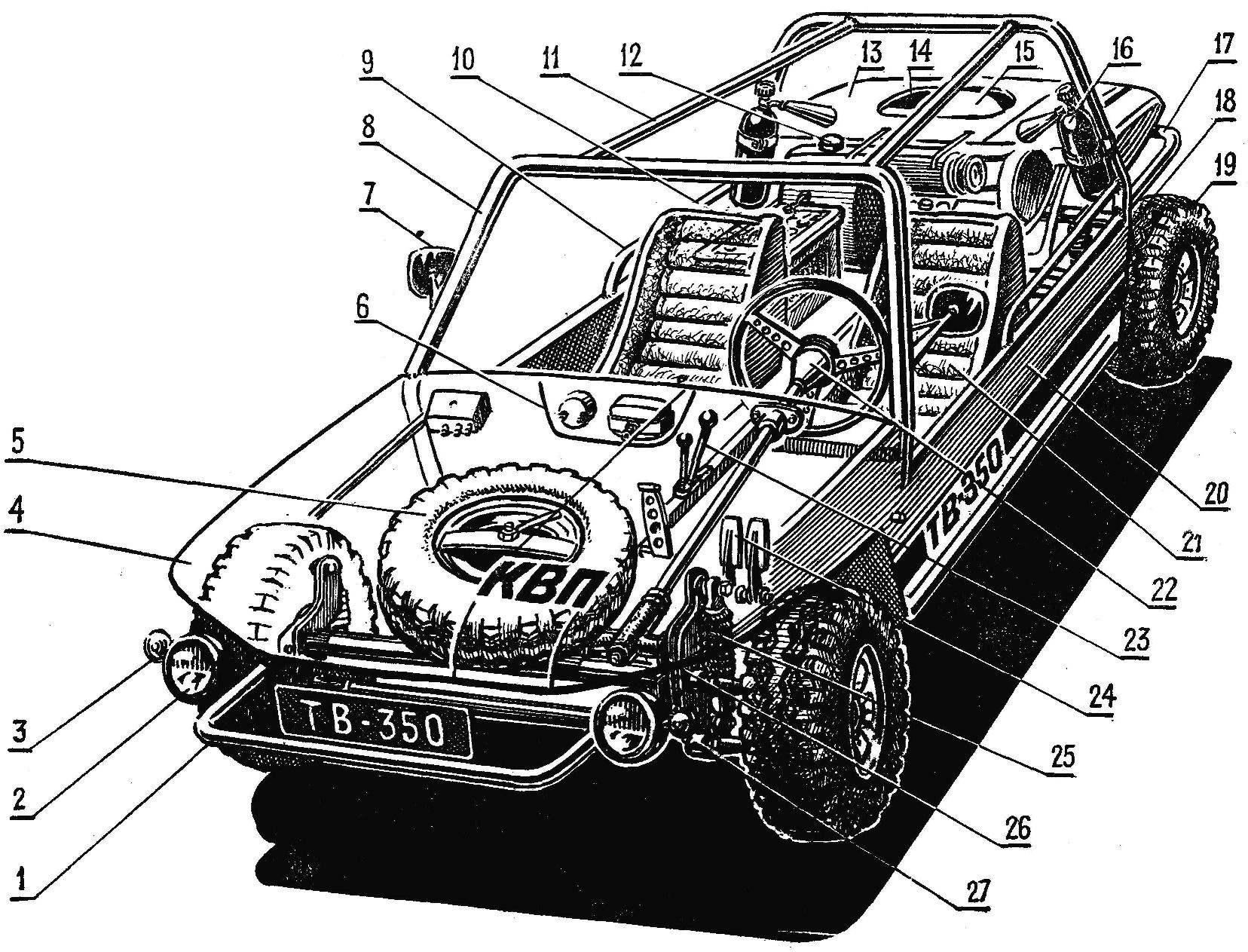 Рис. 1. Общая компоновка микроавтомобиля багги «КВП»