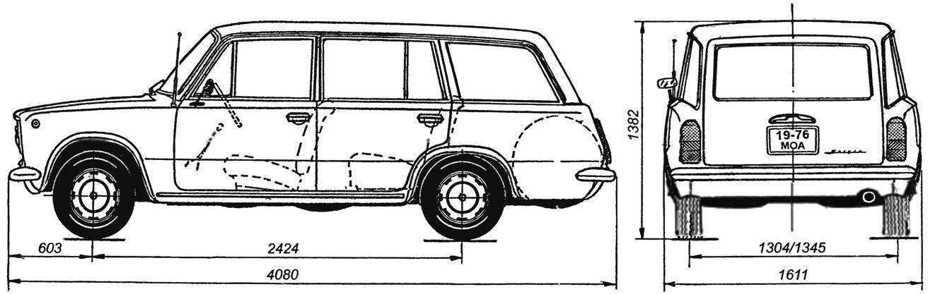 Геометрическая схема автомобиля-универсала ВАЗ-2101 «Жигули»