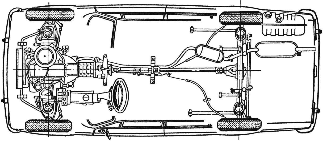 Компоновка ходовой части автомобиля ВАЗ-2101