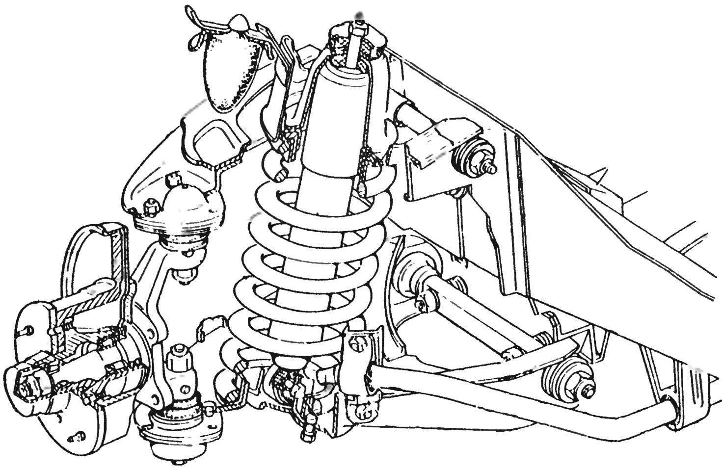 The front suspension of the car VAZ-2101 — independent, wishbone with coil springs, telescopic shock absorbers and stabilizer bar