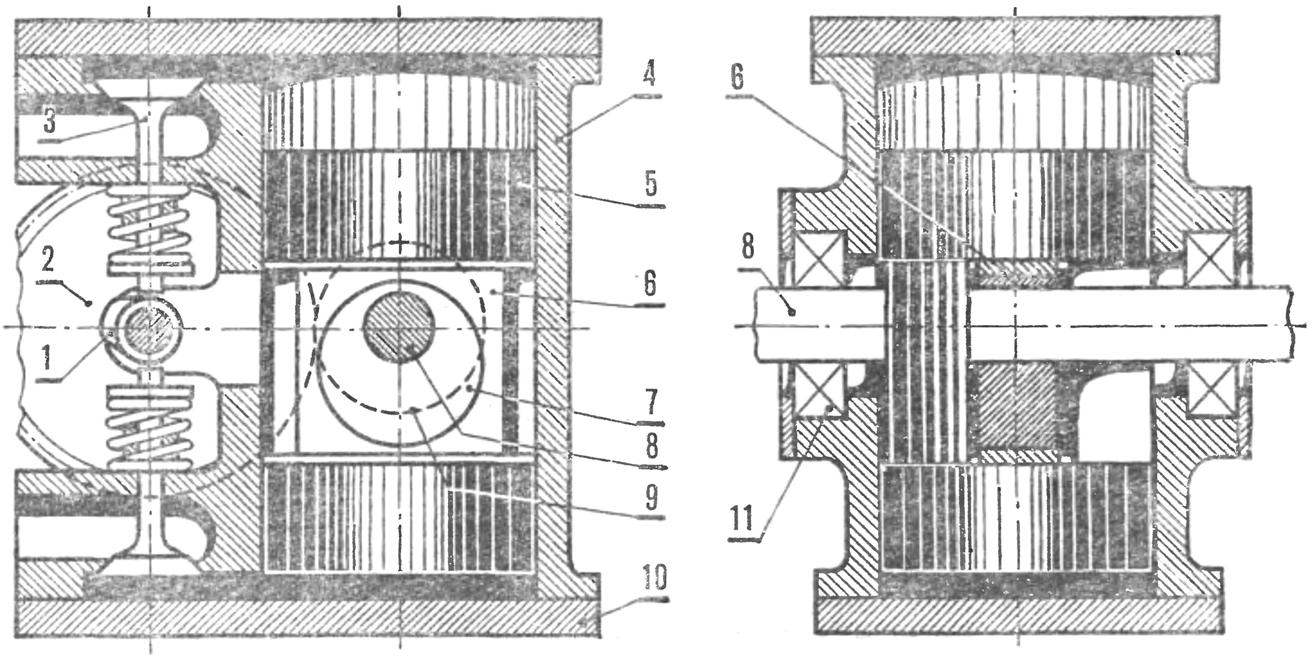 The scheme of the engine with connecting rod free crank mechanism