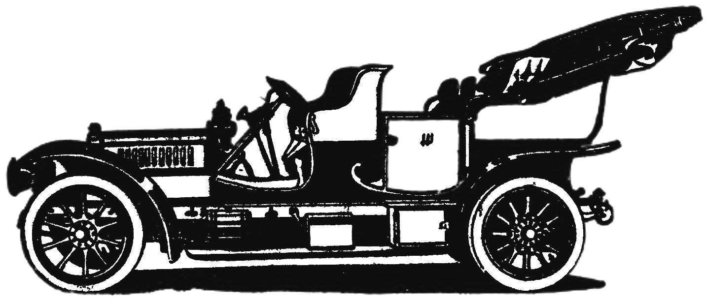Первый автомобиль «Лаурин-клемент» с восьмицилиндровым двигателем (1908 г.).
