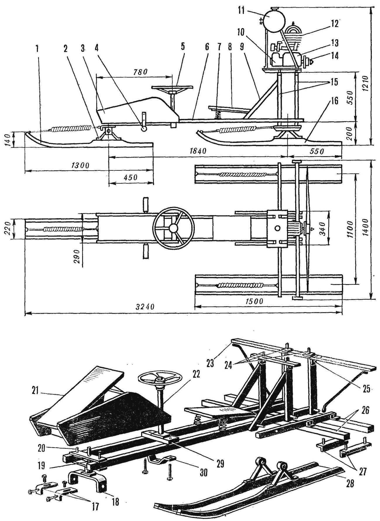 Рис. 1. Конструкция аэросаней «Старт»