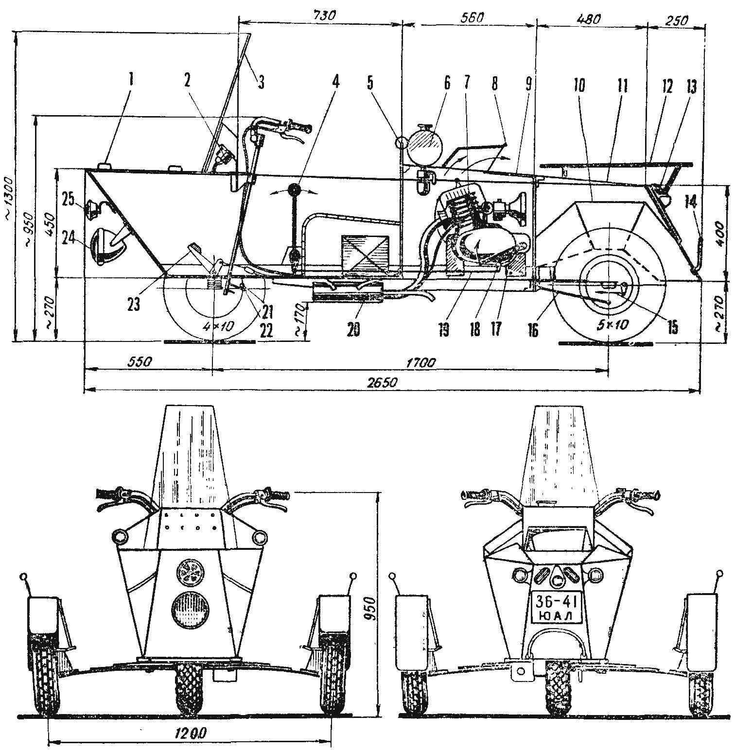 Рис. 1. Схема трицикла