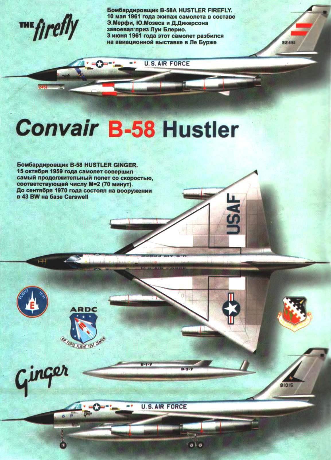 Сверхзвуковой стратегический бомбардировщик CONVAIR B-58 HUSTLER