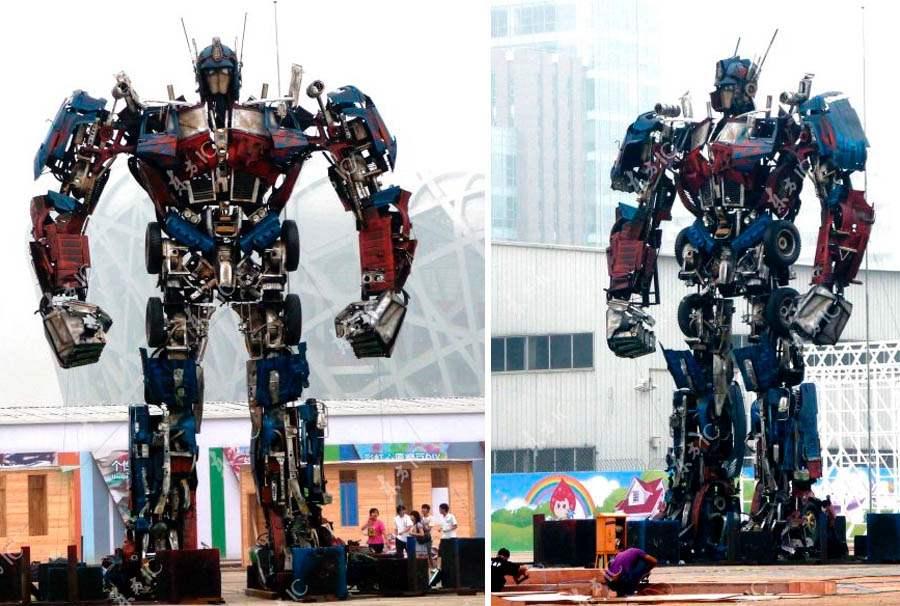 Студенты Чжэцзянского университета построили титаническую статую трансформера Оптимуса Прайма. 10 метров в высоту, почти как настоящий.