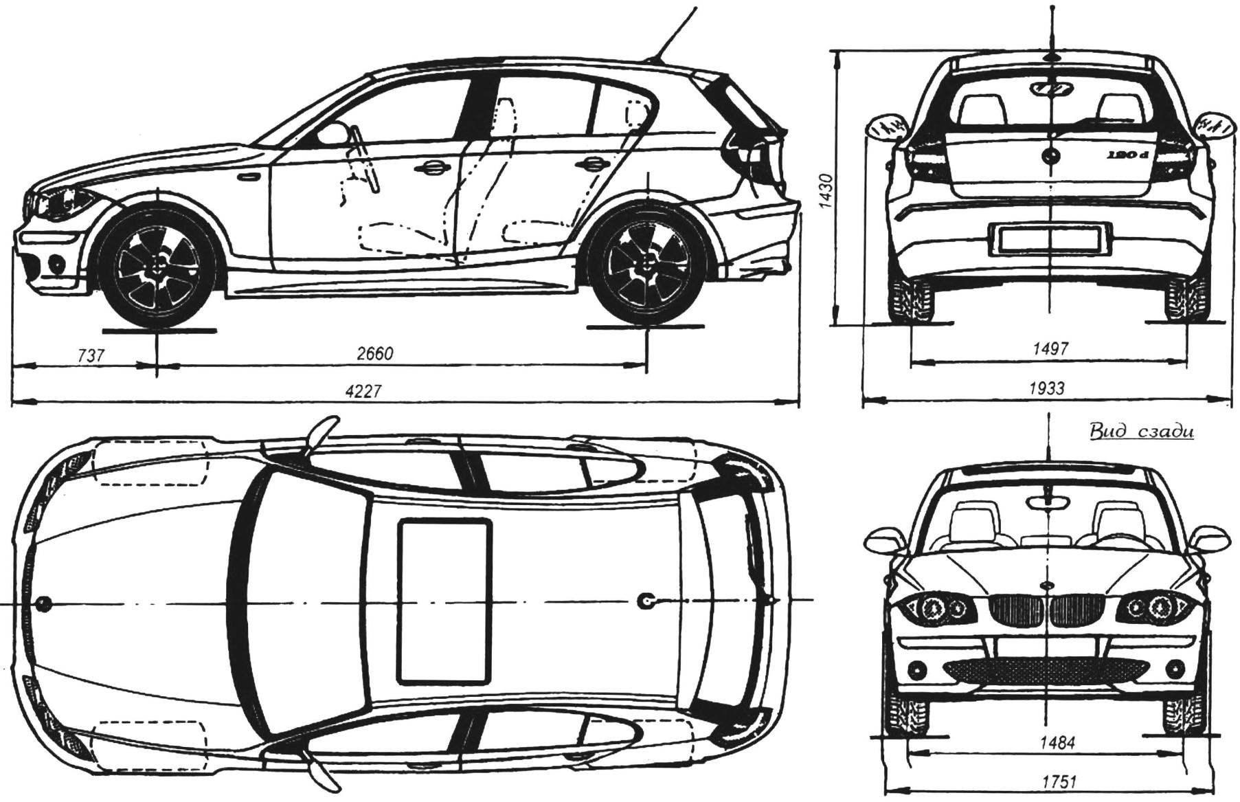 Геометрическая схема автомобиля BMW SERIES 1