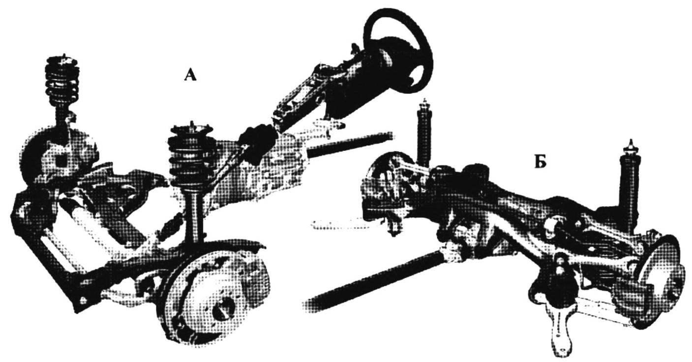Передняя (А) и задняя (Б) подвески автомобиля BMW SERIES 1