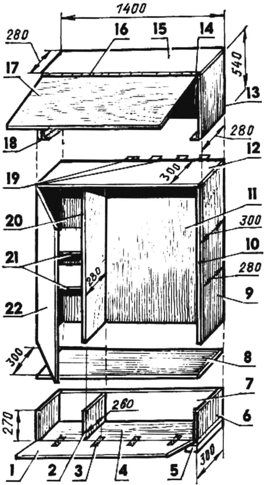 Рис. 4. Посекционная сборка шкафа