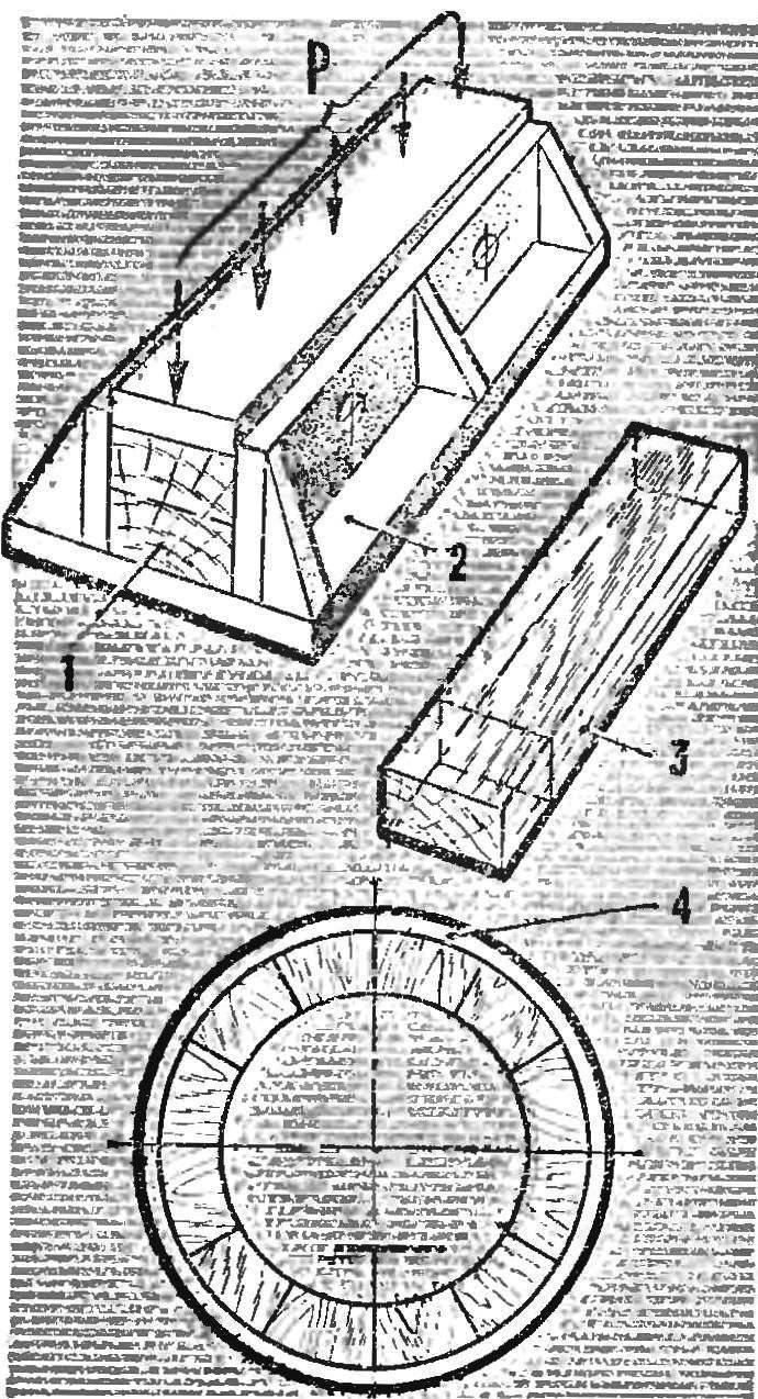 Рис. 6. Деревянная заготовка (1, 3), пресс-форма (2) и готовый подшипник (4)