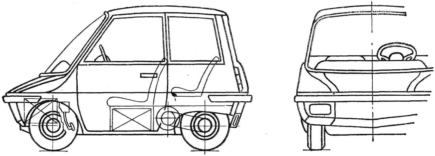 Fig. 1. Diagram of urban electric vehicle (side view front).