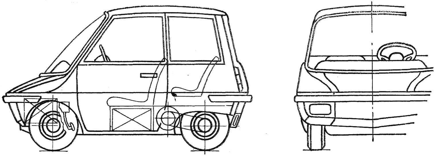 Рис. 1. Схема городского электромобиля (вид сбоку спереди).