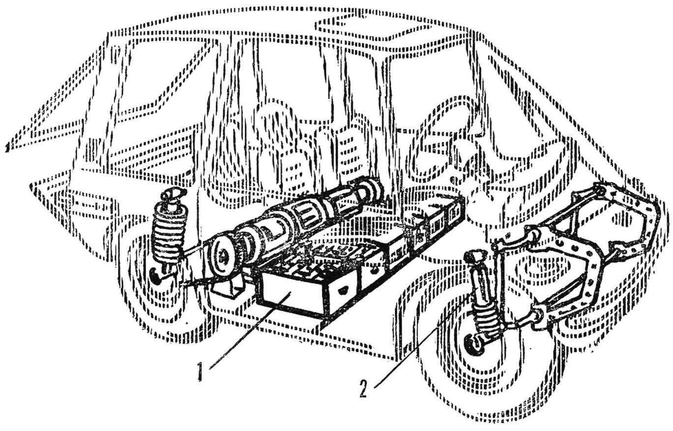 Рис. 2. Общая компоновка узлов электромобиля