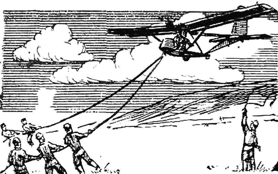 Рис. 1. Запуск планера амортизатором.
