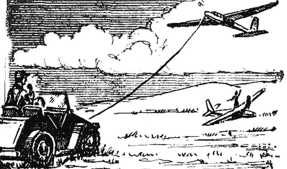 Рис. 2. Взлет планера с помощью чехословацкой автолебедки «Геркулес».