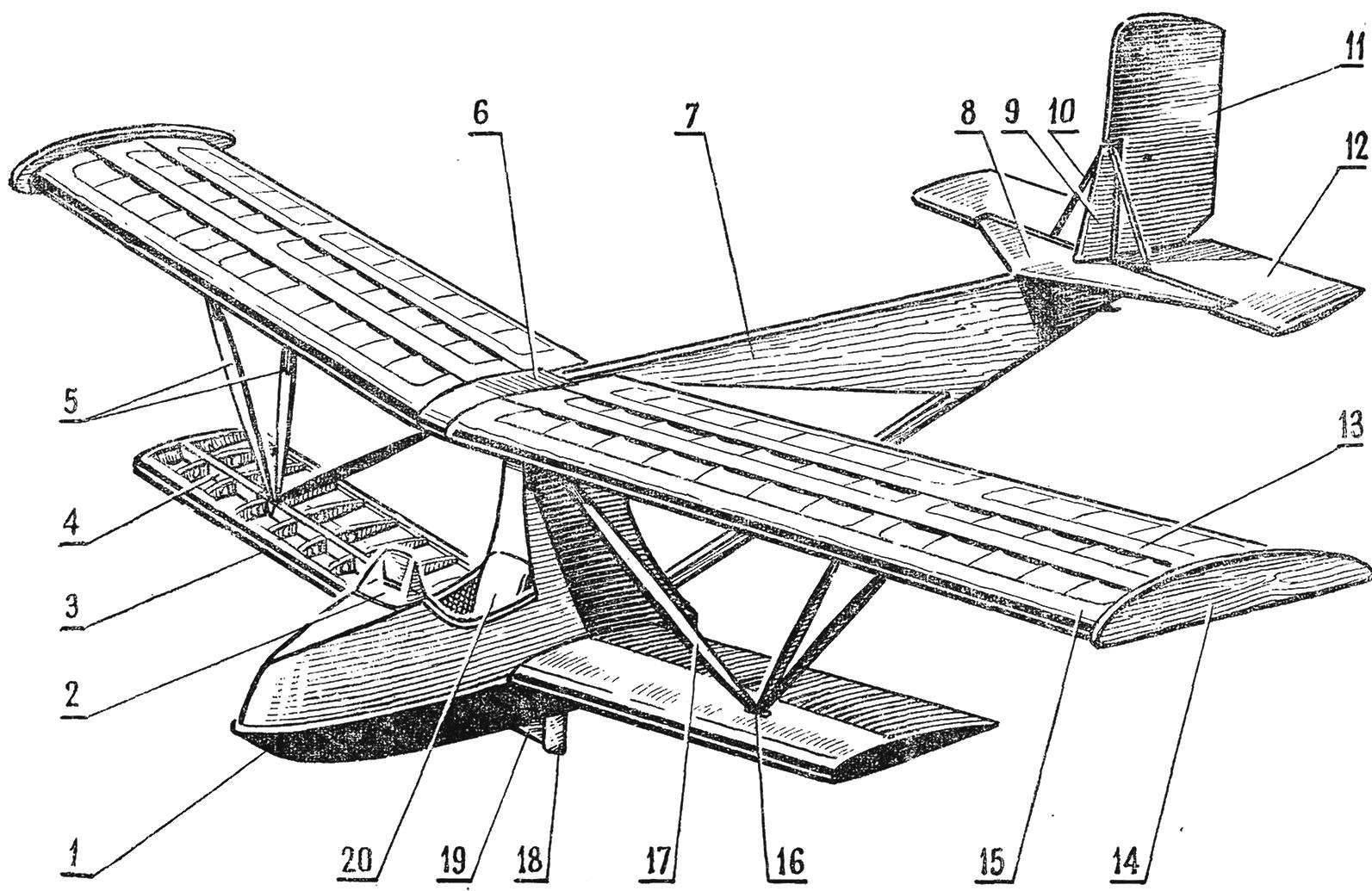 Рис. 2. Общая компоновка гидропланера БРО-17У
