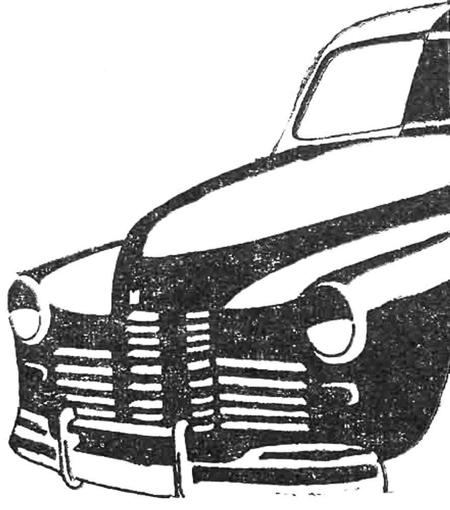 Облицовка радиатора с 1950 до 1955 года.