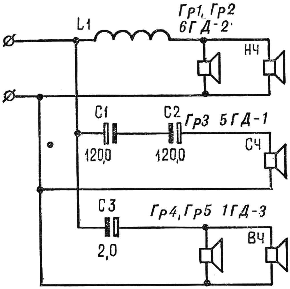 Рис. 2. Схема соединений громкоговорителей.