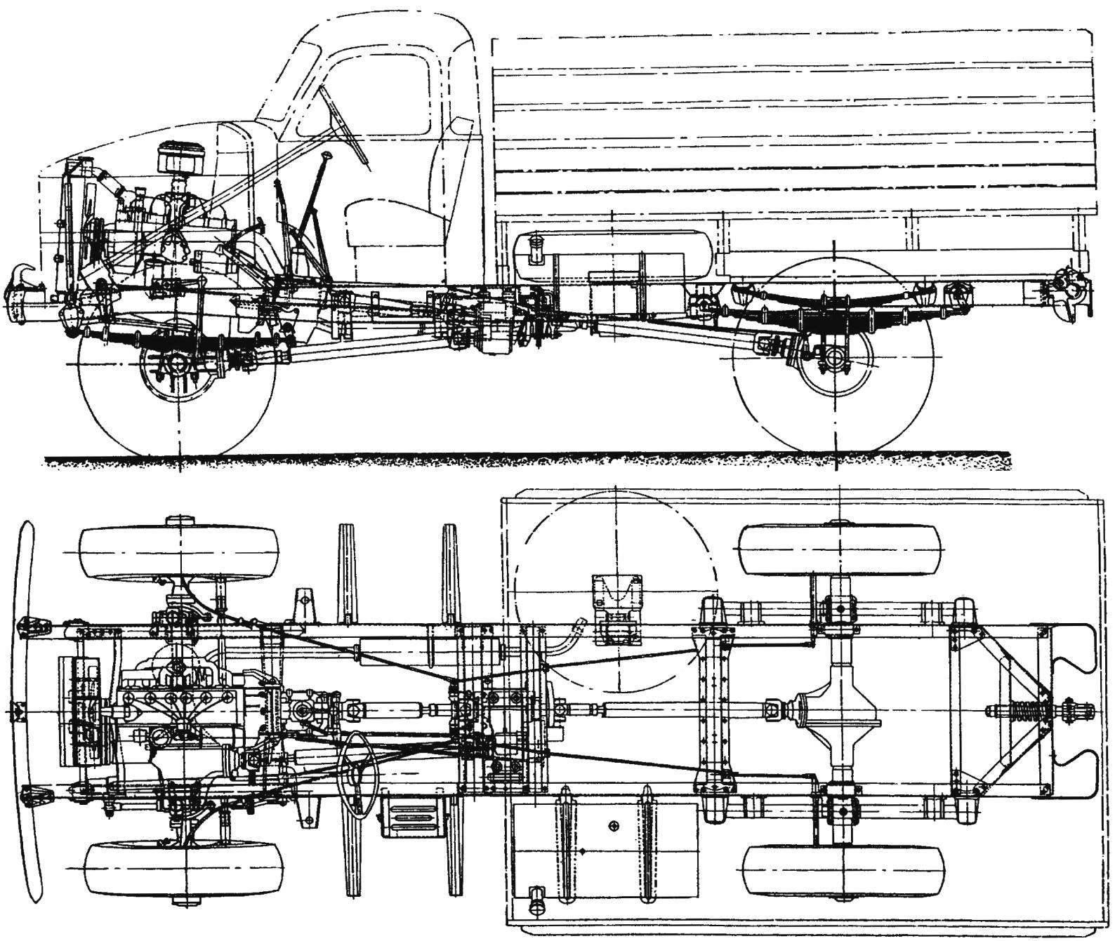 Компоновка автомобиля ГАЗ-63