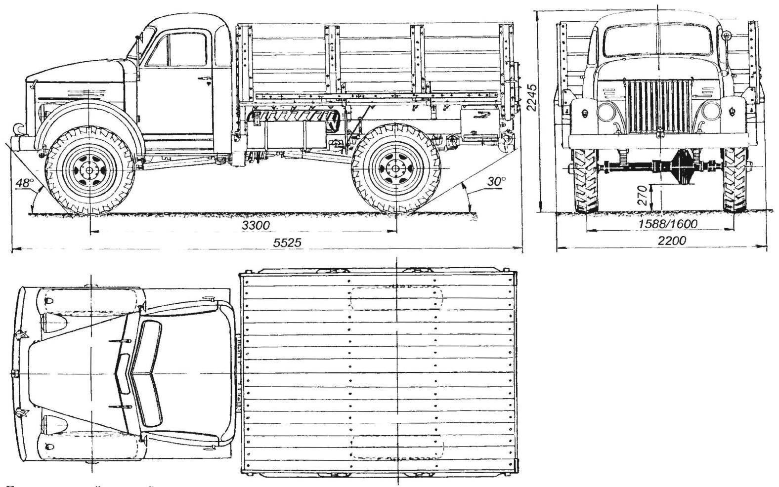 Геометрическая схема полнoпpиводного автомобиля ГАЗ-63
