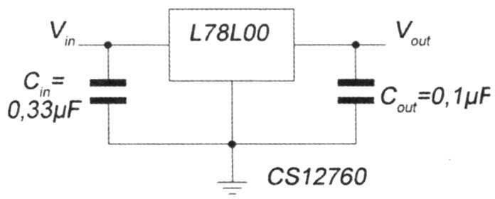 Рис. 4. Типовая схема подключения стабилизатора модельного ряда L78 в электрическую цепь