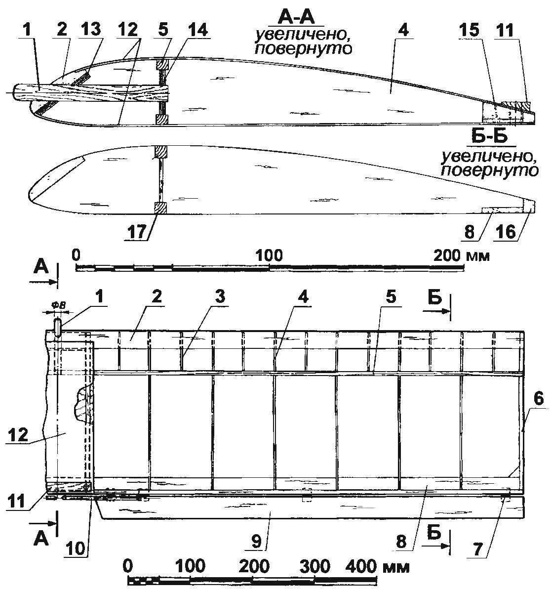 Каркас крыла модели