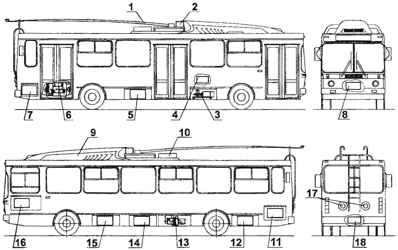 Расположение основных агрегатов на троллейбусах МТРЗ-5279 «Русь» с электронной системой управления тяговым двигателем