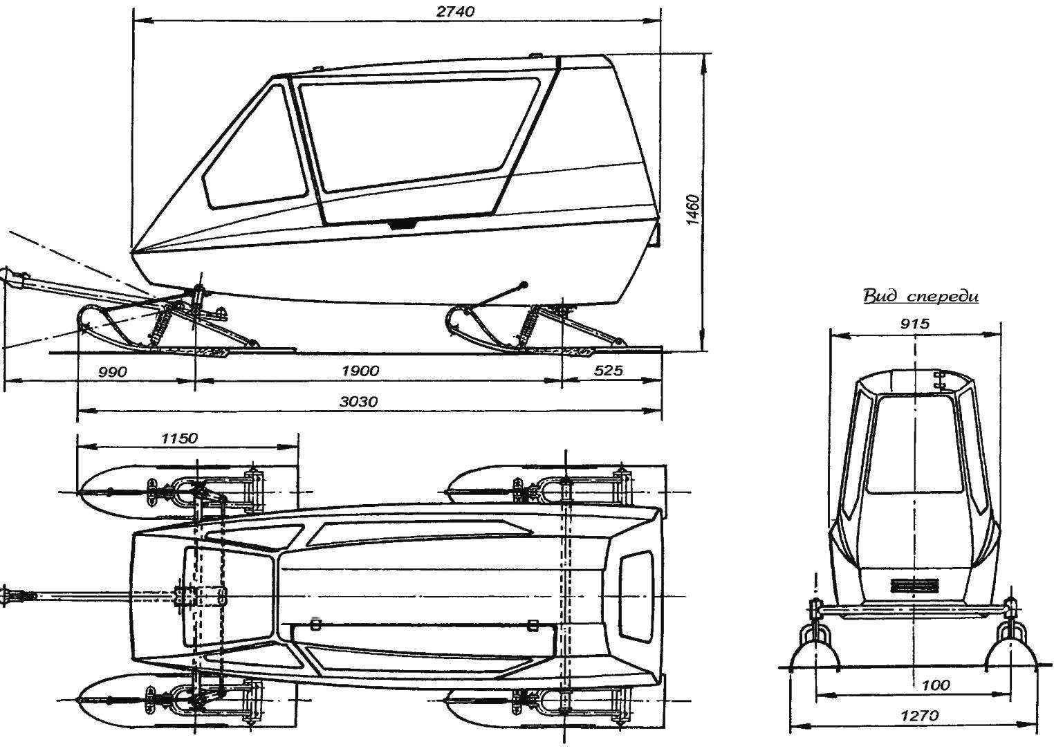 Двухместный прицеп-купе для снегохода