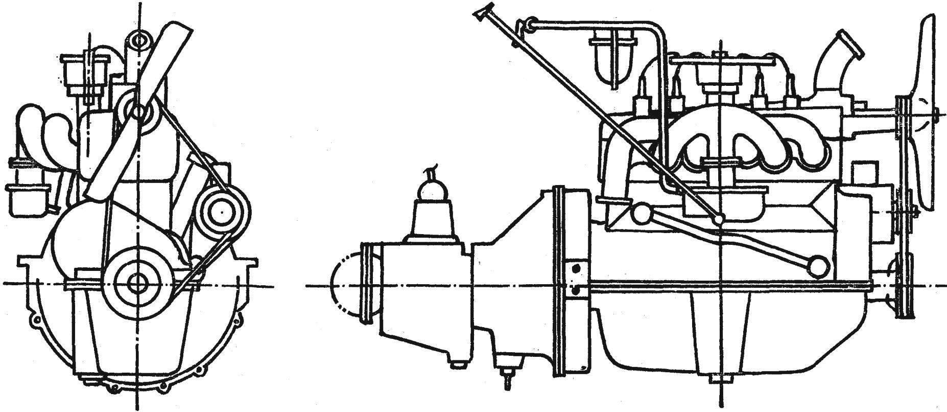 Рис. 3. Двигатель автомобиля ГАЗ-А.