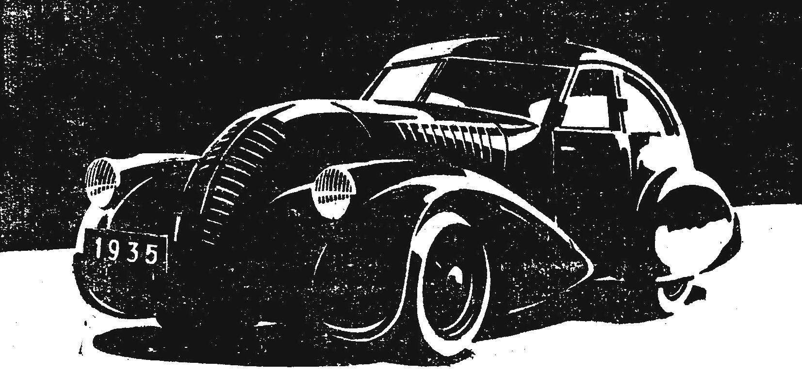 Рис. 4. Обтекаемая машина А. Никитина на шасси ГАЗ-А.