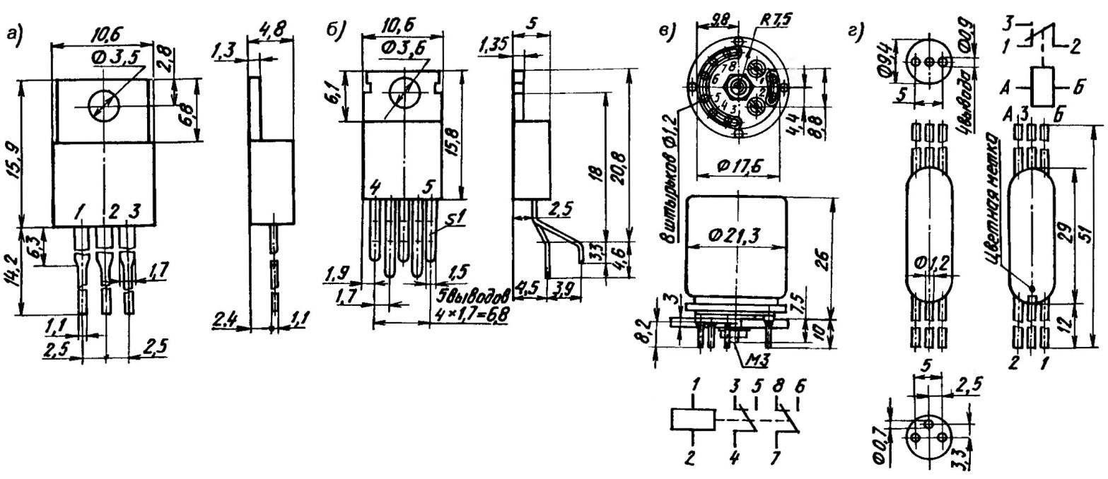 Габариты, установочные размеры, цоколевка аналоговых микросхем К142ЕН8А (а), К174УН14 (б), а также реле РЭС9 (в) и РЭС55А (г)