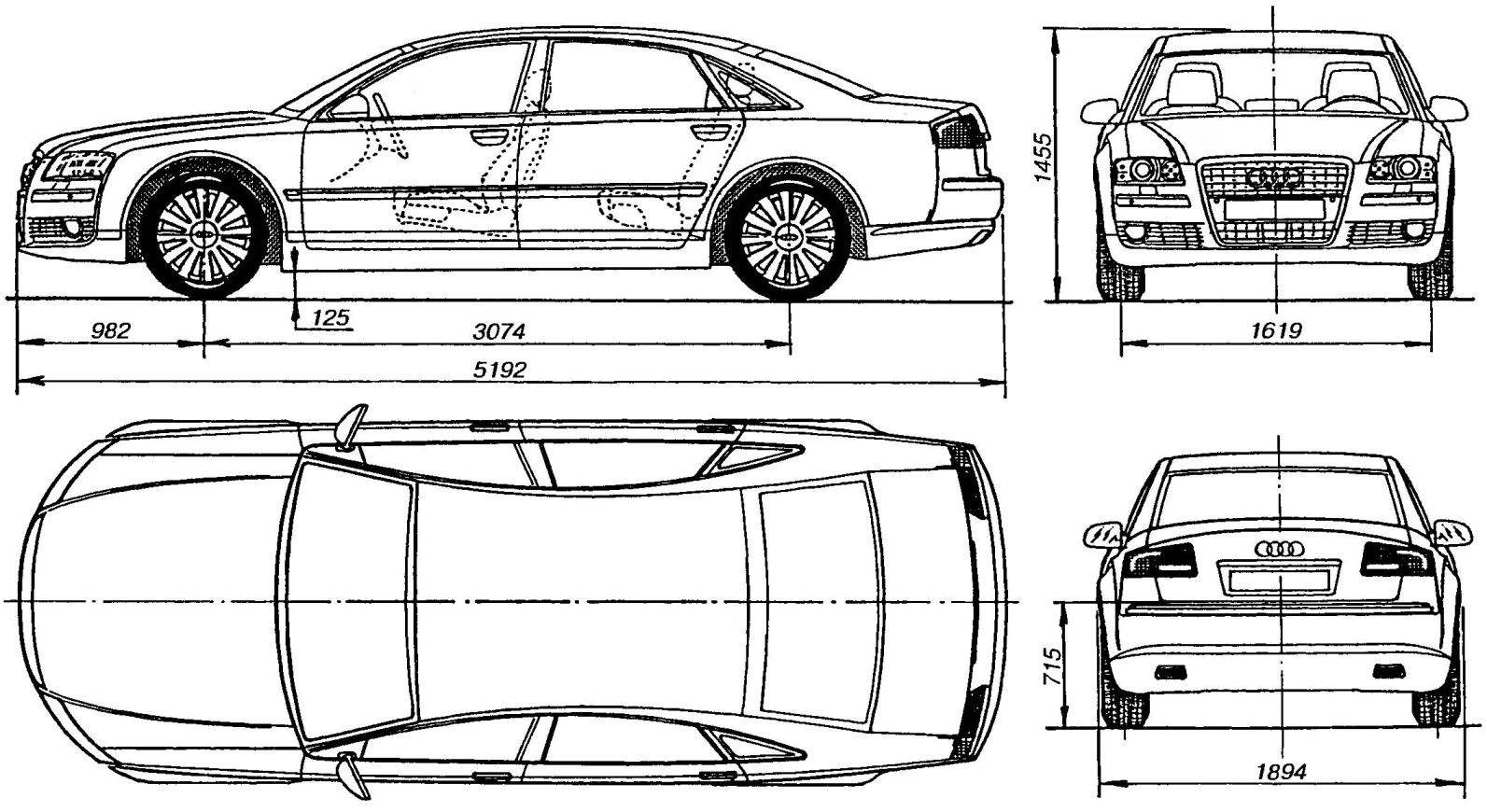Геометрическая схема автомобиля AUDI A8 L QUATTRO 6,0