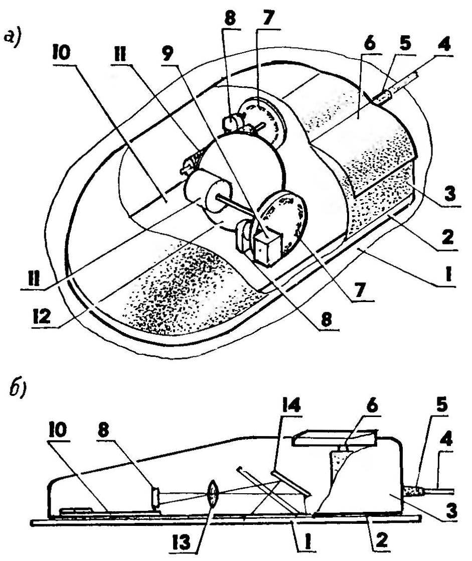 Fig.1. Device schematic the complete optomechanical computer mouse (a) and optical (b)