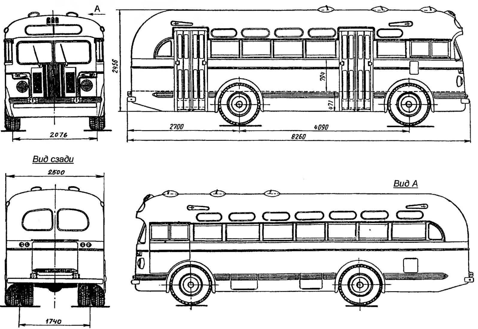 Геометрическая схема 50-местного (мест для сидения — 28) автобуса ЗиС-155